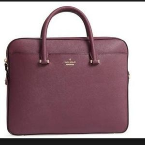 kate spade saffiano leather laptop bag purple nwot